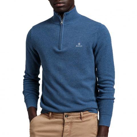 Gant-Pique-Half-Zip-Sweater-Heren-2108300931